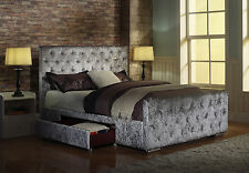 5ft King Size Crushed Velvet Fabric Bed Frame Zoe Silver With  Side Storage