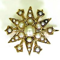 Quality Victorian Pearl Starburst 9ct Yellow Gold Brooch
