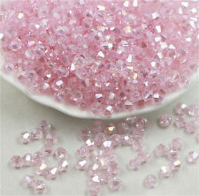 100PCS 4*4MM AB Pink Multicolor Bicone Crystal Faceted Gems Loose Beads