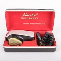 Vintage Philips Norelco Tripleheader III 3 Electric Shaver In Case WORKS *