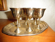 ANTIQUE BRASS TRAY WITH 6 GOBLETS MADE IN INDIA