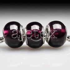 5pcs European Murano Glass Beads Lampwork Round Loose Fit Bracelet LB0047 FB
