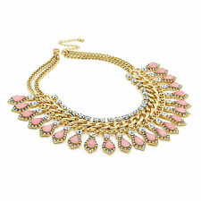 Antique Gold Effect Crystal Peach Tone Bead Statement Chain Necklace Fashion