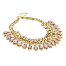 Oro Antiguo Efecto Cristal Peach grano de tono declaración Cadena Collar De Moda