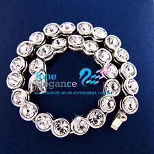 9ct 9k white gold GF solid women tennis Bracelet bangle made with swarovski