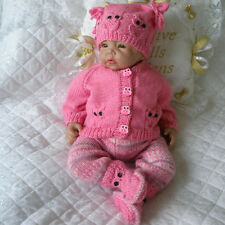 "BABY DOLLS KNITTING PATTERN OWL CARDIGAN SET FOR 16""-22"" DOLL 0-3 MONTH BABY"