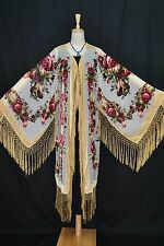 Art To Baby Golden Butterfly Burnout Velvet Fringe Jacket Coat Duster Kimono