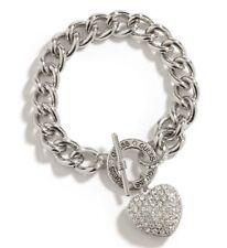 Genuine GUESS BRACELET Womens Silver & Rhinestone Bling Heart Logo Pendant NEW
