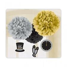 Negro, Plata y Oro Feliz Año Nuevo Esponjoso Papel Decoración para Colgar X 3