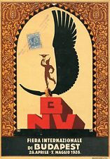 LOCANDINA VINTAGE 1928,FIERA INTERNAZIONALE DI BUDAPEST, Endre Horvath Art