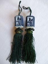 #22 Japanese Fuchin Ceramic Hanging Scroll Weight, Blue