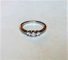 Solid Palladium 0.20CT Diamond Past Present Future Engagement Ring 2.4 grams