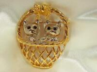 Vintage 1980's Silver And Gold Tone Kittens In A Basket Extra Cute Brooch 673jl9