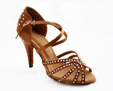 Bronze red satin Latin dance shoes women's Rhinestones Salsa party Wedding shoes