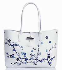 NWOT Authentic Longchamp Rare Blue Roseau Sakura White Leather Tote