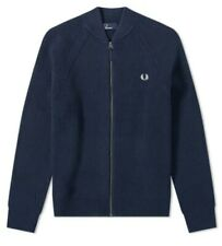 BNWT Fred Perry Bomber Neck Cardigan zip up jumper heavy chunky knit  XXL