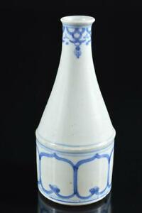 #6183: Japanese Old Imari-ware Blue&White Muffle painting FLOWER VASE Ikebana