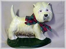 West Highland Terrier Cast Iron Doorstop Westie Dog with Plaid Ribbon Bow