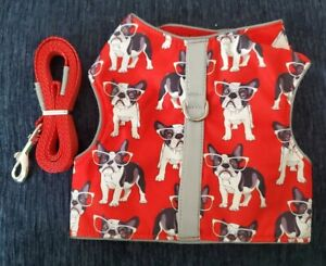 Cat Harness/Leash Set Red w/dogs, Comfort Fit LARGE, NEW