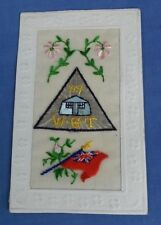 WW1 SILK EMBROIDERED POSTCARD  W.T.G. 1917 EXTREMELY RARE