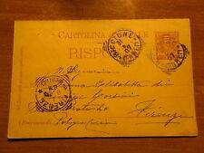 TARJETA POSTAL RISPOSTA C.7,5 1907 DE RICCIONE EN FLORENCIA PRINCIPIOS CORSINI