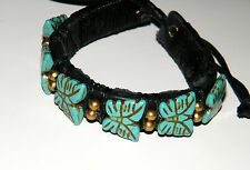 "1 BUTTERFLY BRACELET Cuff Style Leather Wide BLUE HOWLITE 6"" - 9"" Wrist NEW!"