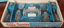 VINTAGE ANCHOR HOCKING EARLY AMERICAN PRESCUT CRYSTAL TABLE SERVICE SET 11 PC
