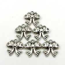 20Pcs Alloy Metal Lucky Double Fishes Star Beads Finding