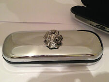 D24 Wire Hair Head dogs head  Motif On a Chrome Glasses Case