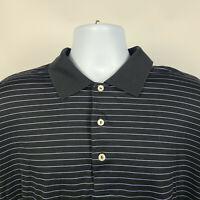 Peter Millar Black Purple Striped Mens Adult Polo Shirt Size XL