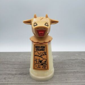 """Vintage hard plastic 6"""" Moo-Cow creamer with lid by Whirley Industries USA"""