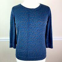LOFT Womens Sweater Blue Floral 3/4 Sleeve Size XL FLAW
