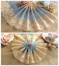 """9""""*1Y Elastic Stretch Floral Lace Trim~Rosy Gold+Blue~Smile of Duchess~Gorgeous~"""