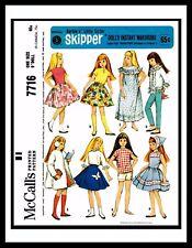 "McCall's 7716 Barbie sister 9"" SKIPPER DOLL Dress Fabric Sewing Pattern Mattel"