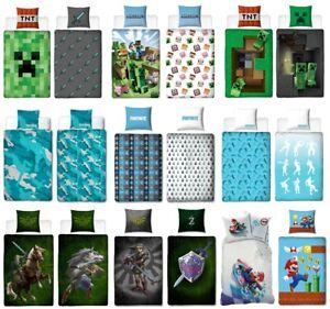 Kinder Bettwäsche Set 135X200 80X80 Game Minecraft Fortnite Zelda Mario Jungen