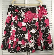 d4c014a75f39 Lane Bryant Pink Brown Floral A Line Paneled Flared Skirt size 24