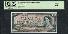 BC-35b $100 BANK OF CANADA 1954 DEVIL'S FACE PCGS 63 CHOICE NEW CV $1,5K WLM4412