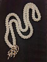 Vintage Faux Pearl Twist Gold Tone Tassel Necklace 13171