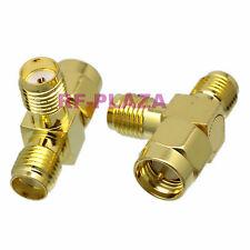 1pce Adapter edge SMA male plug to 2x SMA female jack T Splitter RF COAXIAL