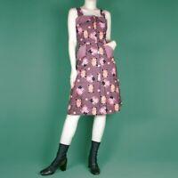 VINTAGE 70s Black Pink Check Floral Knee Geometric Fold Ditsy Pattern Dress S 10