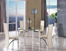 Torino Round Glass and Aluminium Extending 74 - 120 Cm Dining Table With 6 Ivory Alisa Chairs