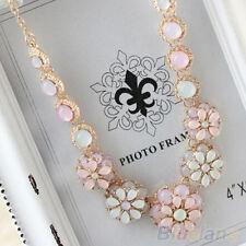 Womens New Sweet Pearl Flower Pendant Metal Chain Collar Bib Statement Necklace