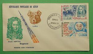 DR WHO 1977 BENIN FDC SPACE ISAAC NEWTON + LAIKA  C240558
