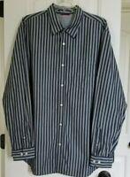 Banana Republic XL cotton black white striped long sleeve button down men shirt.