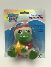 Vintage 1989 Remco Muppet Babies Christmas Squeeze Toy Kermit Frog NOS
