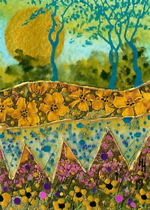 """*YEARLY SALE* ACEO """"Floral Fields"""" Original Collage Painting, Hélène Howse"""