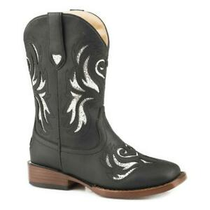 19-018-1901-0992 Roper Girls Black Glitter Breeze Western Cowboy Boot NEW