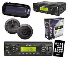 "Black New 2012 Boat Radio USB MP3 MMC +Pair of 5.25"" Round Speakers Splash Cover"