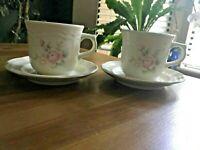 Set of 2 Pfaltzgraff Tea Rose Stoneware Tea / Coffee Cups & Saucers, USA