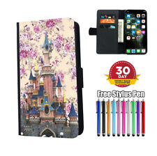 Disney Castle Fantasy Floral Flip Phone Case Cover for iPhone Samsung and Huawei